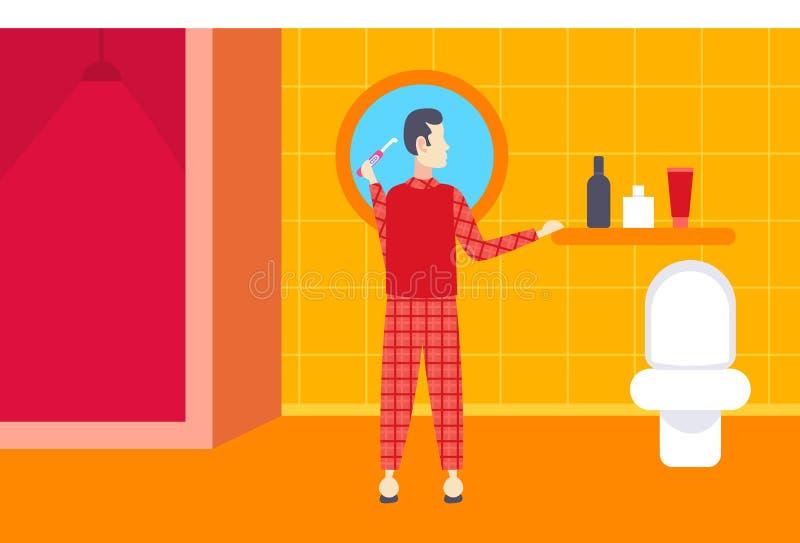 Uomo nel tipo di spazzolatura di retrovisione dei denti del pigiama nell'usura domestica che esamina il personaggio dei cartoni a illustrazione di stock