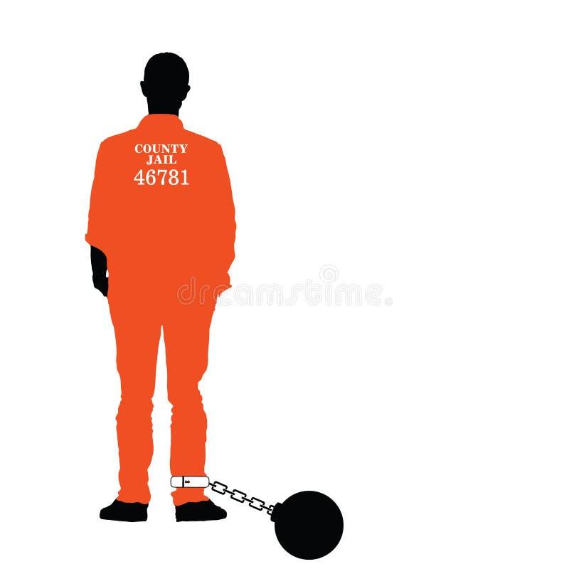 Uomo nel vettore della prigione in variopinto illustrazione di stock