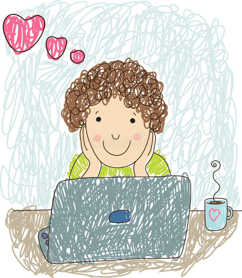 Uomo nell'amore con un computer portatile illustrazione di stock