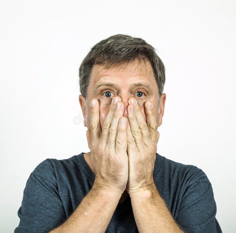 Uomo nell'emozione fotografia stock libera da diritti