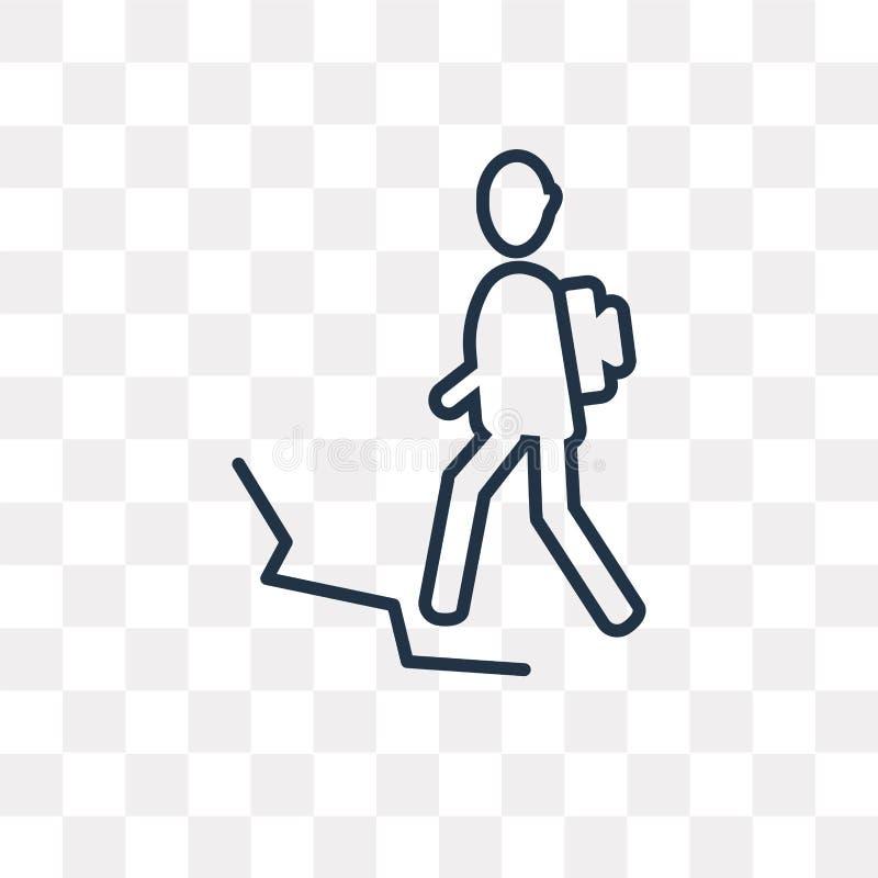 Uomo nell'icona di vettore di aumento isolata su fondo trasparente, linea royalty illustrazione gratis