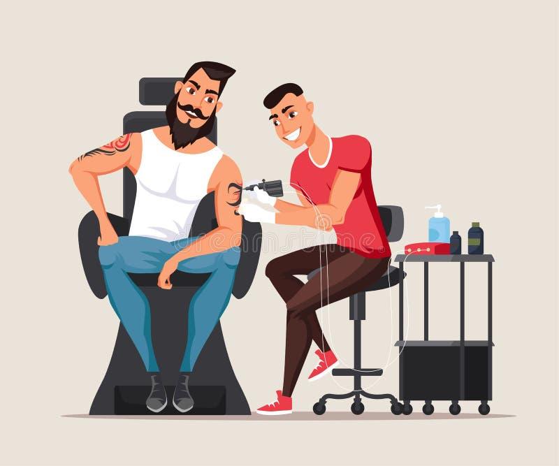 Uomo nell'illustrazione piana di vettore dello studio del tatuaggio illustrazione di stock