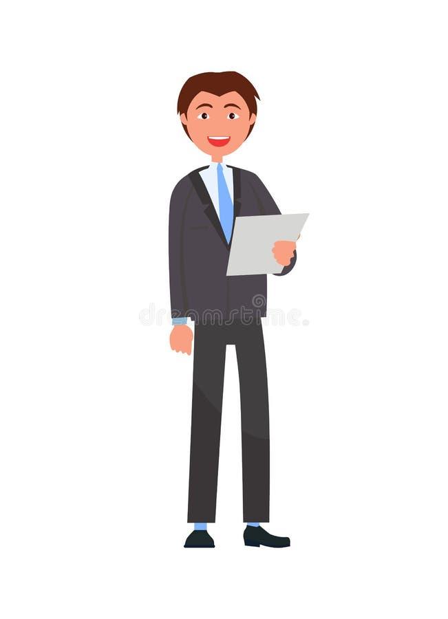Uomo nell'usura convenzionale con la lista di carta, uomo d'affari illustrazione di stock