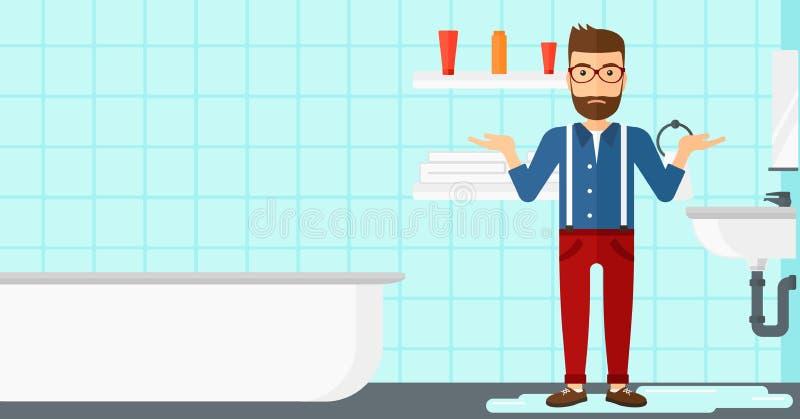 Uomo nella disperazione che sta vicino al lavandino colante illustrazione vettoriale