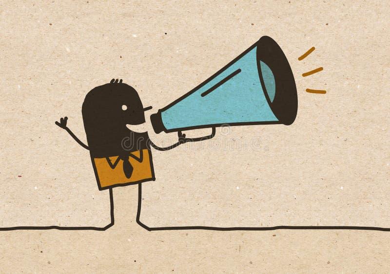 Uomo nero del fumetto con il megafono royalty illustrazione gratis