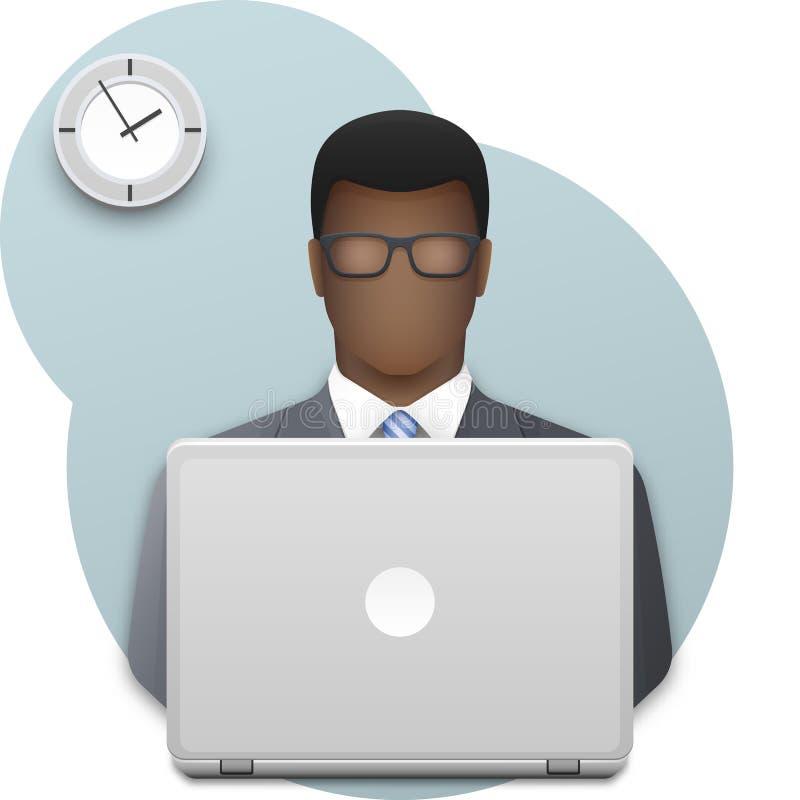 Uomo nero di affari con funzionamento di vetro sul computer portatile Riuscito giovane uomo d'affari di afro sul fondo della pare illustrazione vettoriale