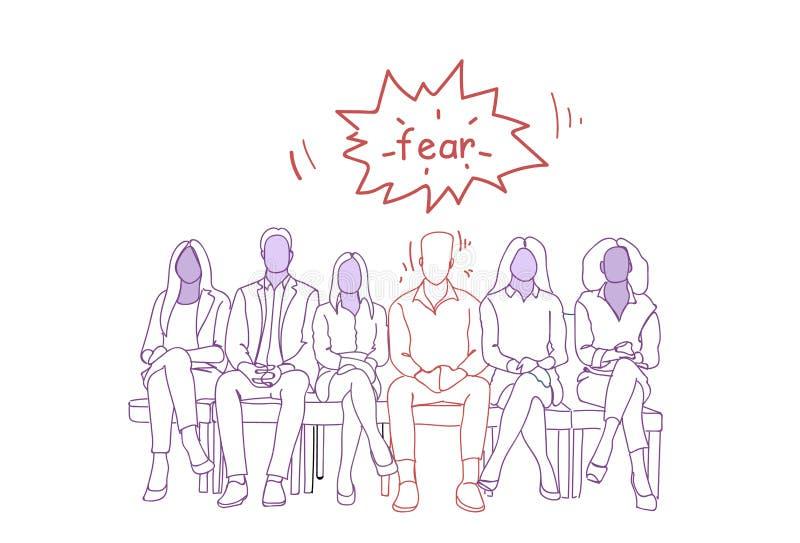 Uomo nervoso che si siede con il gruppo di persone nella linea concetto aspettante di Job Interview Doodle Human Resources royalty illustrazione gratis