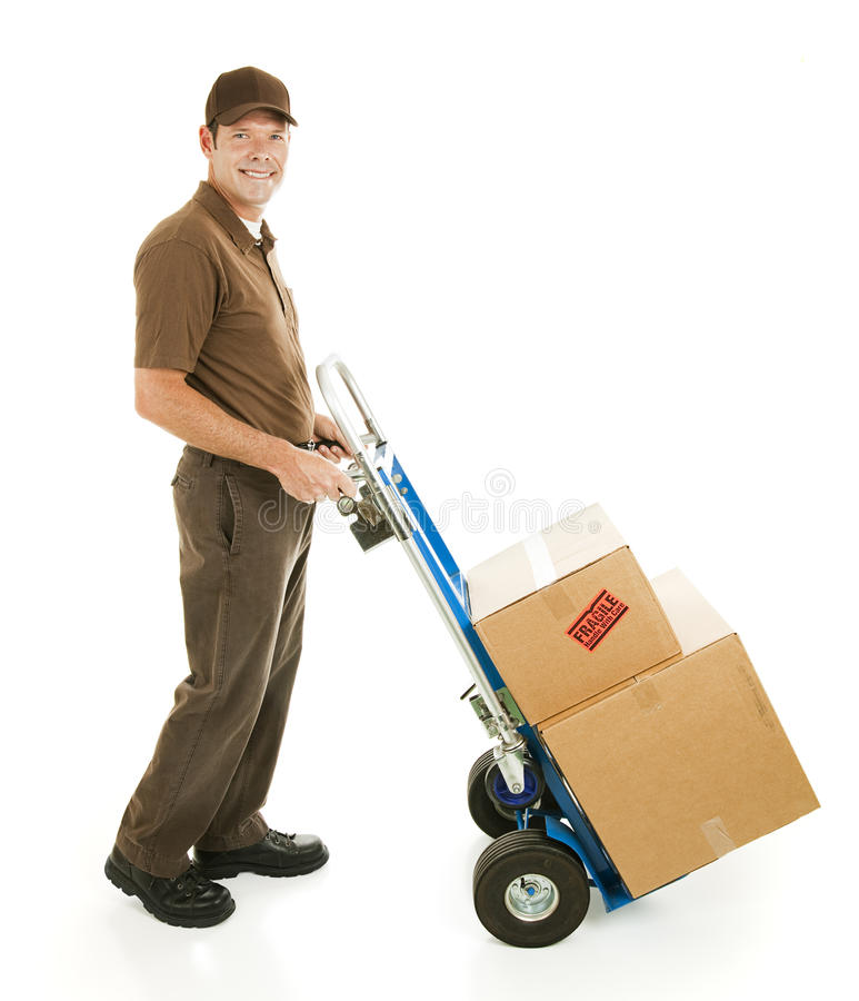 Uomo o motore di consegna con il carrello immagine stock libera da diritti