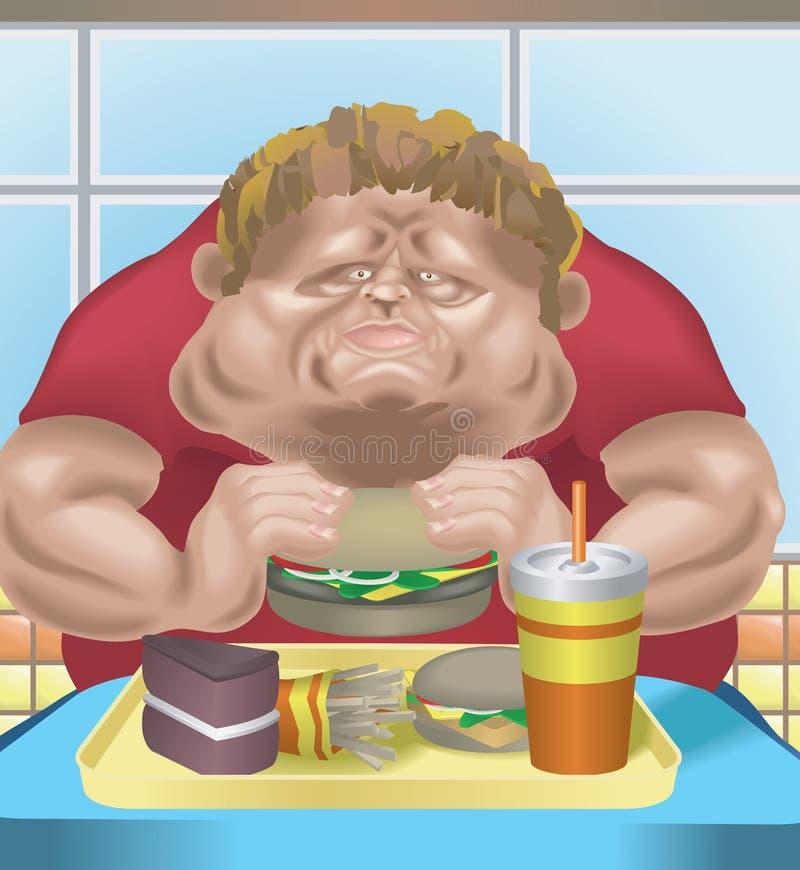 Uomo obeso nel ristorante degli alimenti a rapida preparazione illustrazione vettoriale