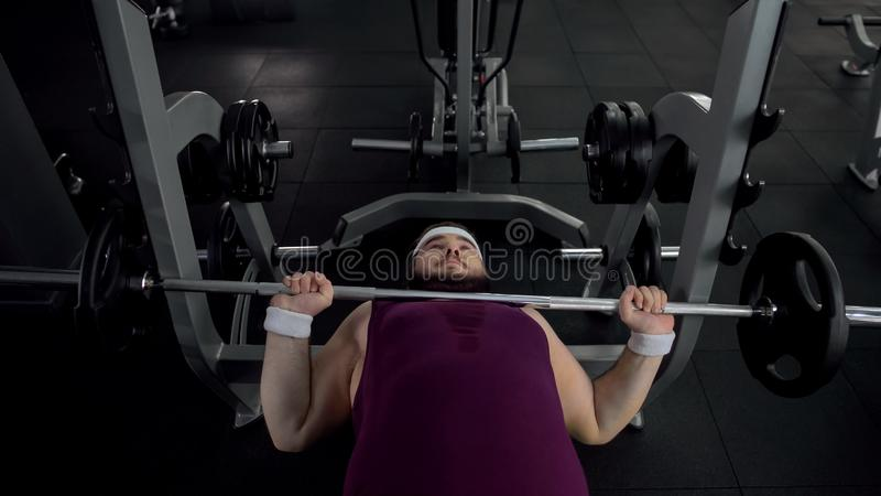 Uomo paffuto incapace di sollevare bilanciere pesante in palestra durante l'esercizio di sport, salute immagine stock