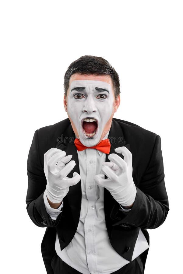 Uomo pazzo di grido su bianco immagine stock