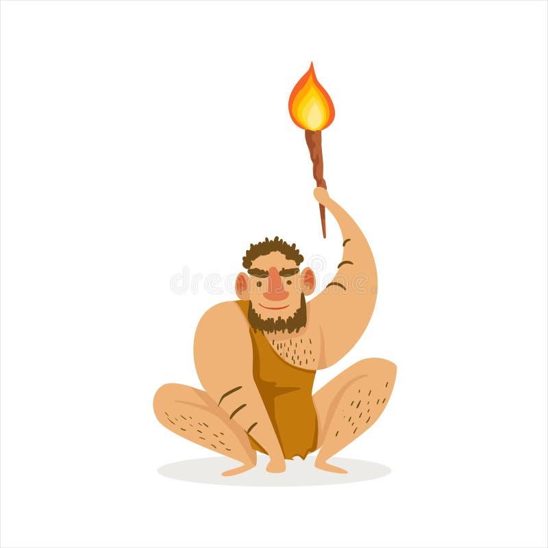Uomo peloso che si accovaccia con l'illustrazione del fumetto della torcia dell'alite della prima troglodita di homo sapiens in c illustrazione di stock