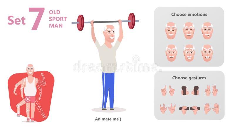 Uomo più anziano esercitarsi al sollevamento del bilanciere illustrazione di stock