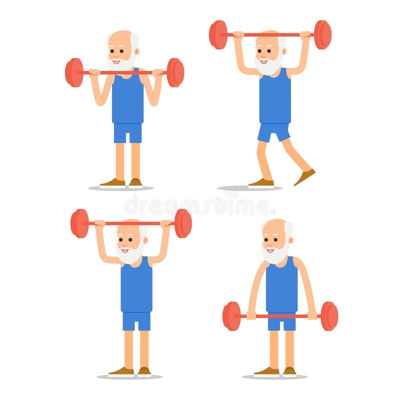 Uomo più anziano esercitarsi al sollevamento del bilanciere Nonno in vario royalty illustrazione gratis