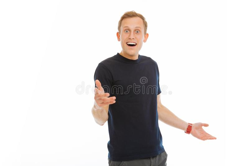 Uomo piacevole allegro che è felice di vedervi fotografia stock libera da diritti