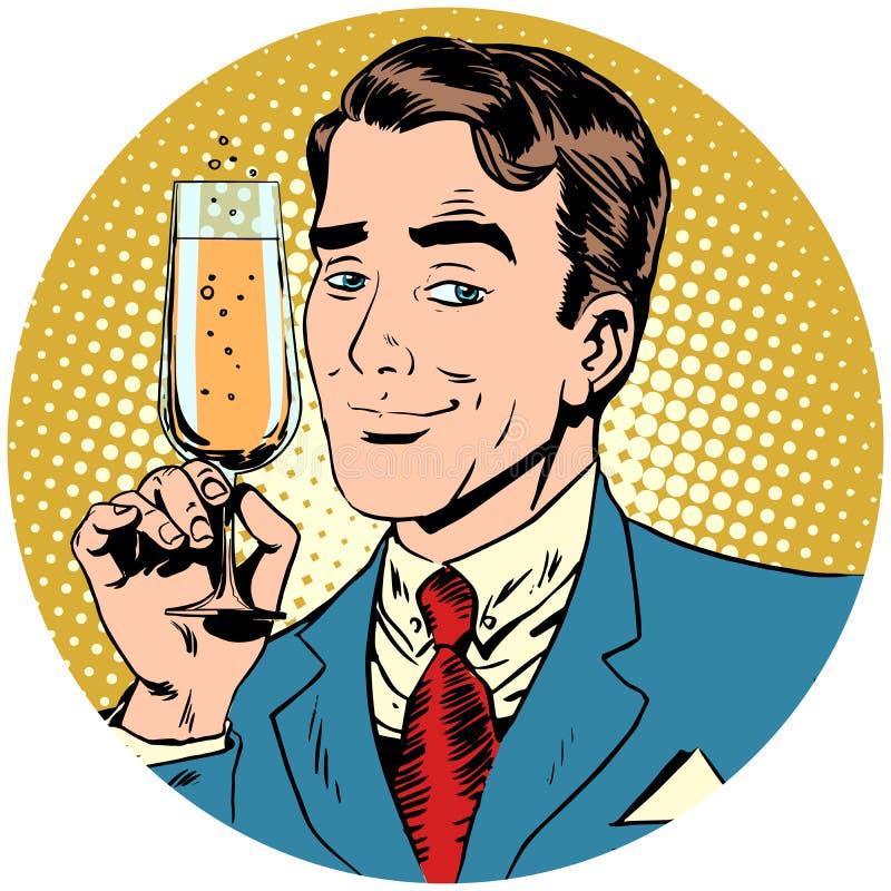 Uomo piacevole con un vetro del vino spumante del champagne illustrazione di stock