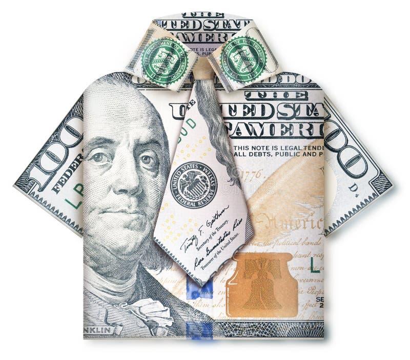 Uomo piegato di affari di soldi immagine stock