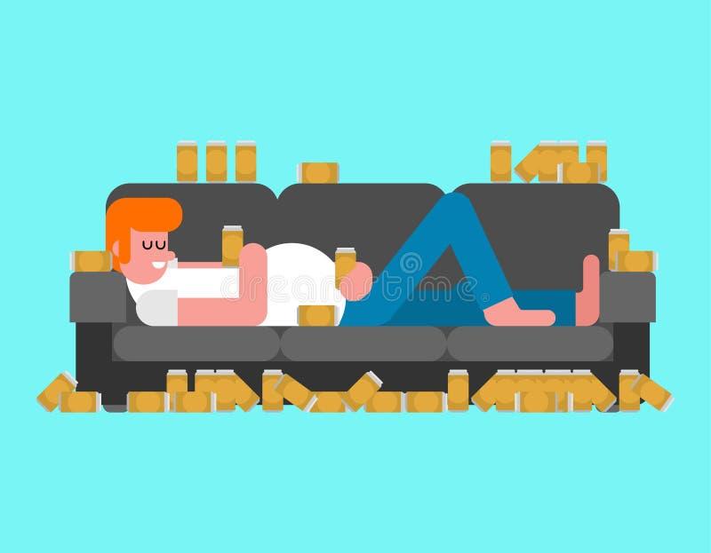 Uomo pigro che si trova sulla birra bevente dello strato il tipo indolente della persona sta trovandosi sul sofà illustrazione di stock
