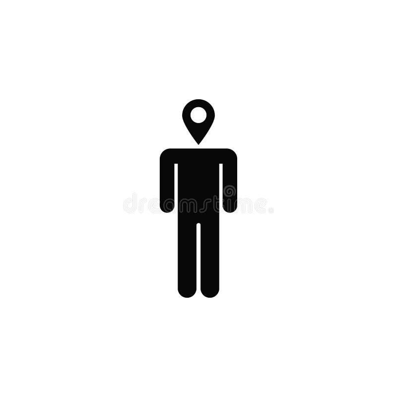 Uomo, posizione, icona Elemento dell'icona semplice per i siti Web, web design, app mobile, infographics Linea spessa icona per p illustrazione di stock