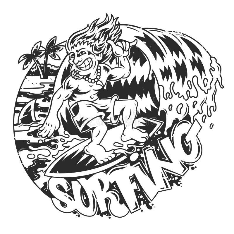 Uomo praticante il surfing illustrazione di stock