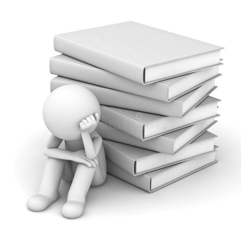 Uomo preoccupato 3d che si siede con la pila di libri illustrazione vettoriale