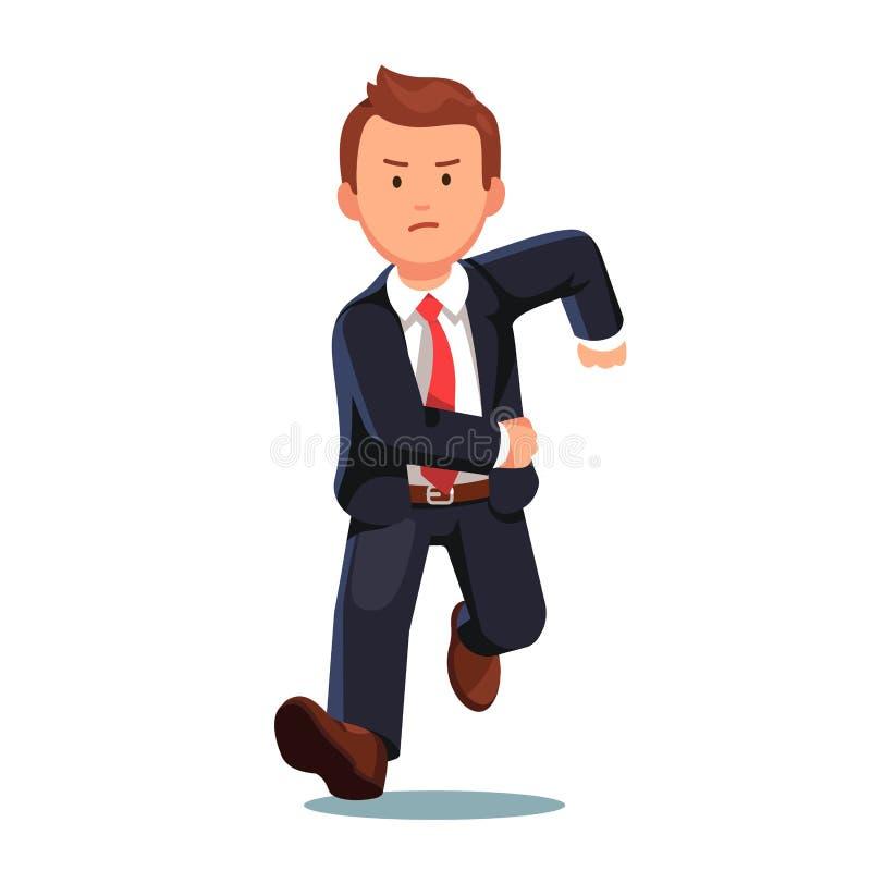 Uomo recente sollecitato di affari che si dirige velocemente illustrazione vettoriale