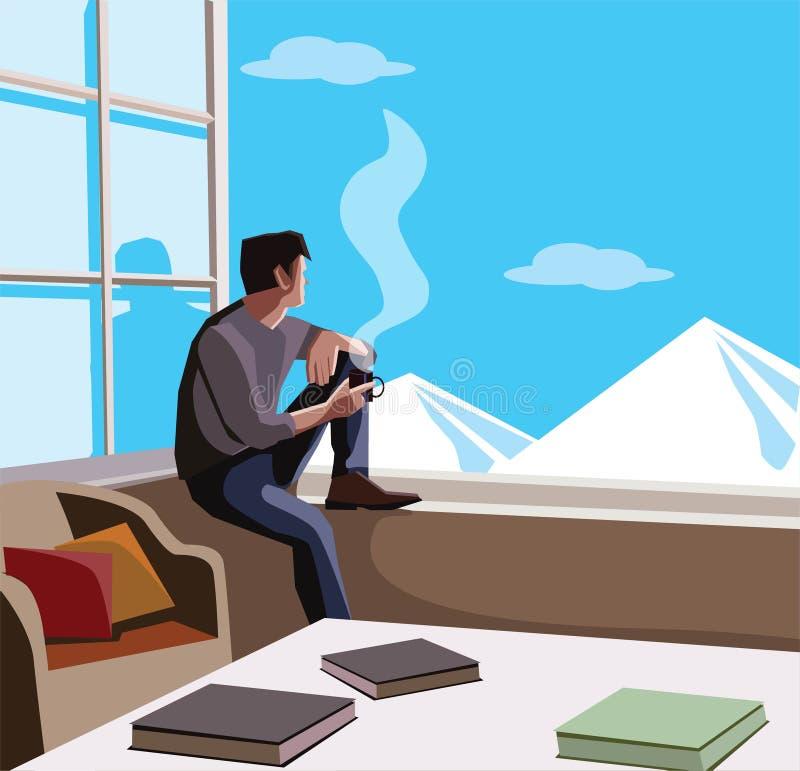 Uomo rilassato che si siede in montagne di sorveglianza della finestra e caffè bevente fotografie stock