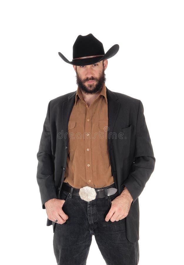 Uomo In Rivestimento E Cappello Da Cowboy Grigi, Mano In