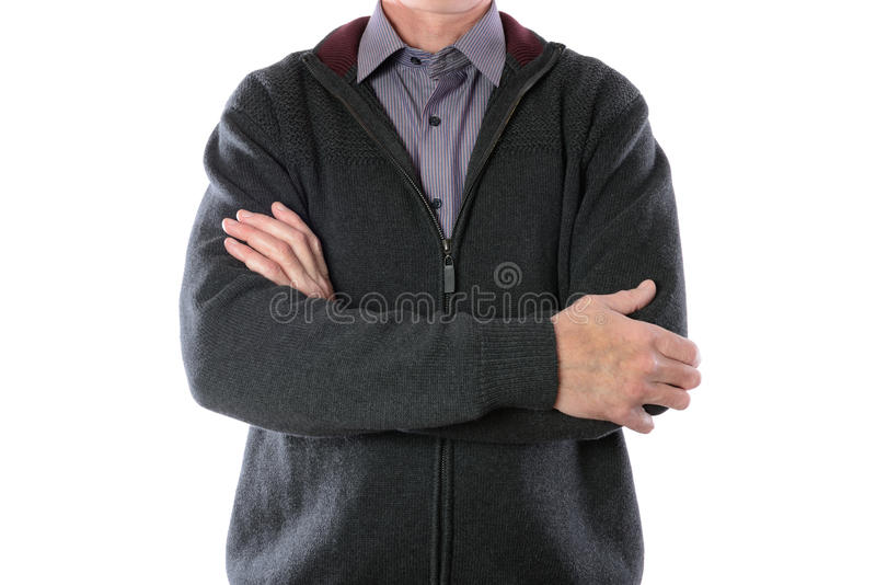 Uomo in rivestimento grigio e camicia a strisce fotografia stock