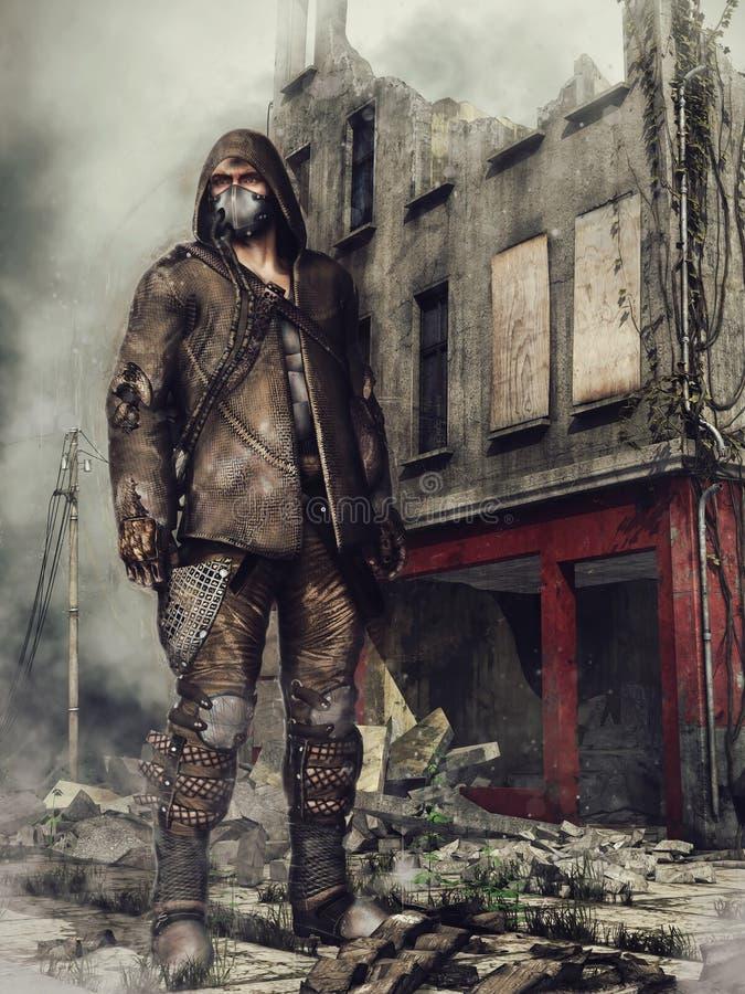 Uomo in rovine della città illustrazione di stock