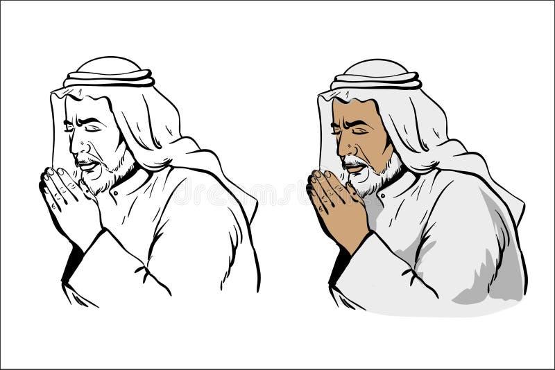 Uomo saggio anziano musulmano che prega variazione disegnata a mano dell'illustrazione di vettore in bianco e nero e colorato iso illustrazione di stock