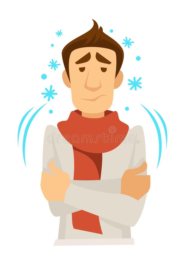 Uomo in sciarpa con tremare freddo o il tremolio illustrazione di stock