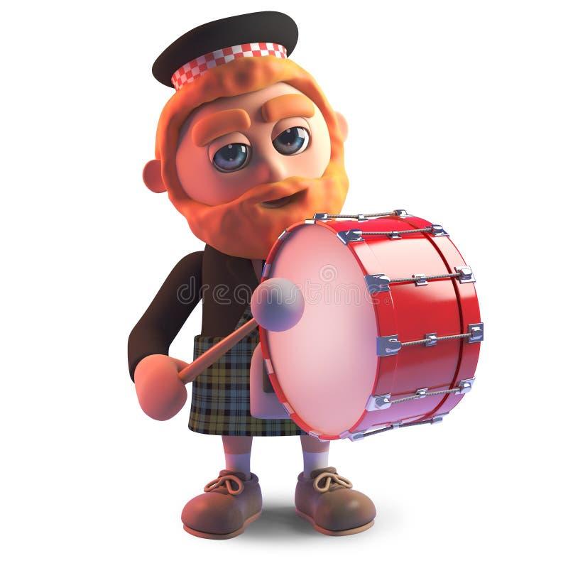Uomo scozzese del fumetto che porta un kilt e che gioca un tamburo in marcia, illustrazione 3d illustrazione vettoriale