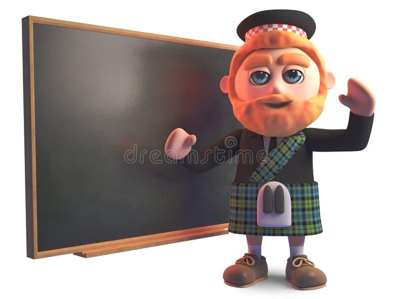 Uomo scozzese istruito che insegna alla lavagna, illustrazione 3d illustrazione di stock