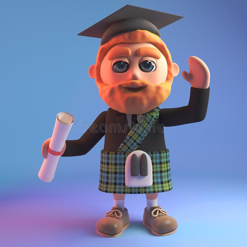 Uomo scozzese istruito in 3d che indossa un bordo del kilt e del mortaio del tartan che tiene un diploma, illustrazione 3d illustrazione vettoriale
