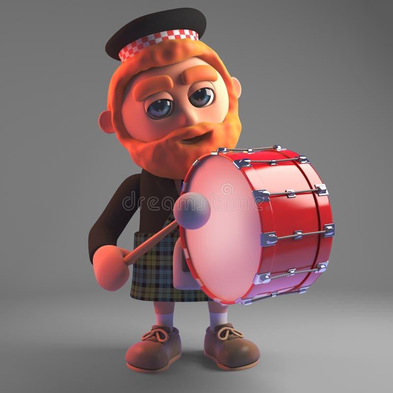 Uomo scozzese in marcia in kilt che tamburella su una grancassa, illustrazione 3d royalty illustrazione gratis
