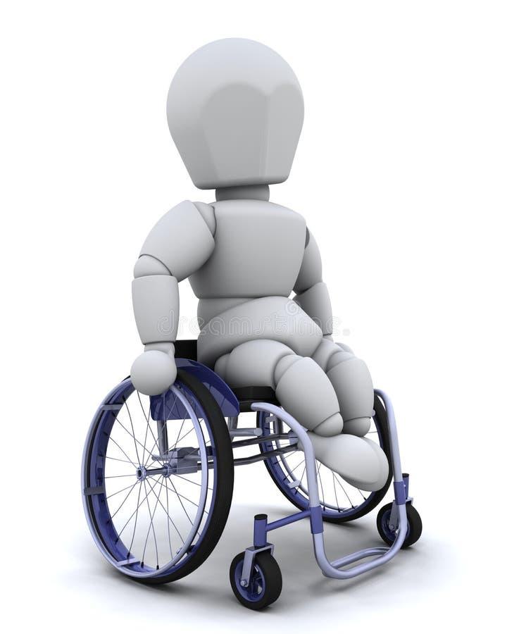 Uomo in sedia a rotelle isolata su bianco illustrazione vettoriale