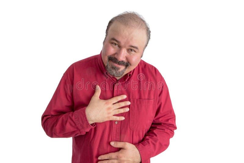 Uomo seducente che mostra il suo ringraziamento immagini stock libere da diritti