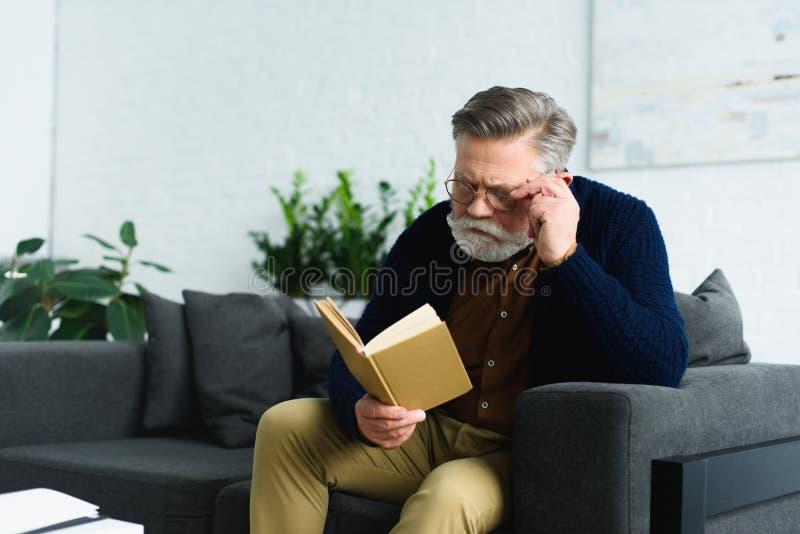 uomo senior alla moda in occhiali che si siedono sul sofà e sul libro di lettura fotografia stock libera da diritti