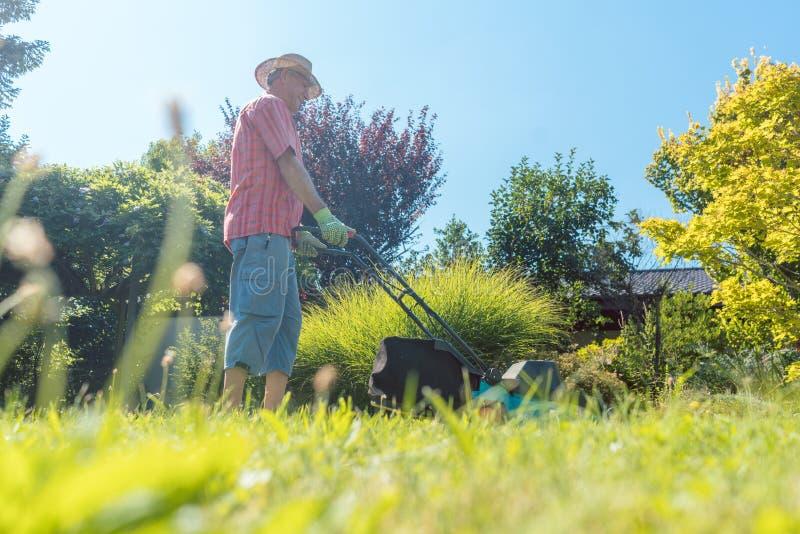 Uomo senior attivo che sorride mentre usando una tagliatrice dell'erba fotografia stock