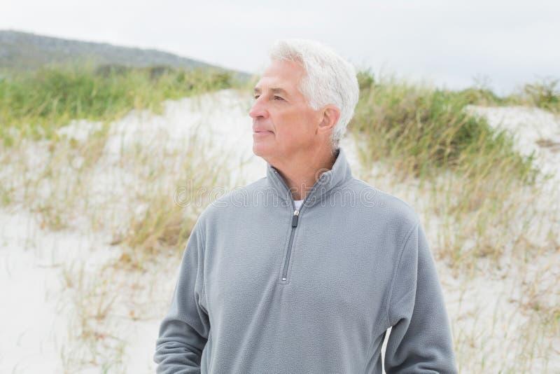 Uomo senior casuale contemplativo alla spiaggia immagine stock