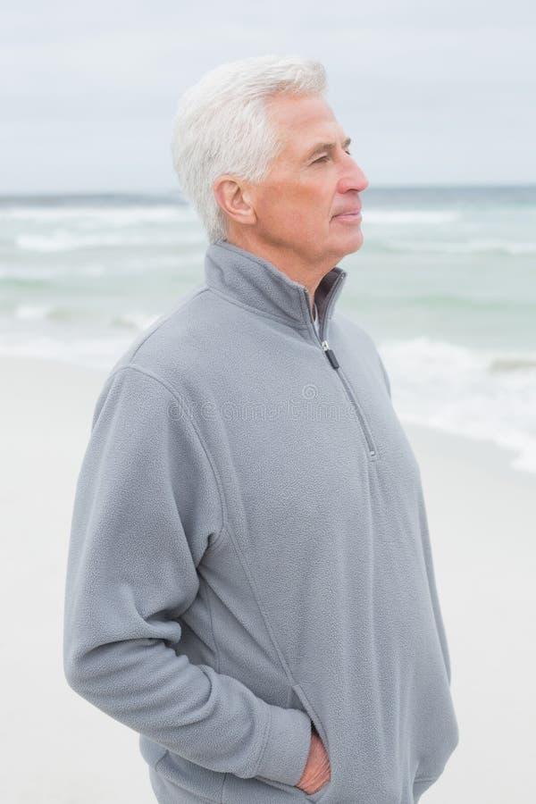 Uomo senior casuale contemplativo alla spiaggia fotografia stock