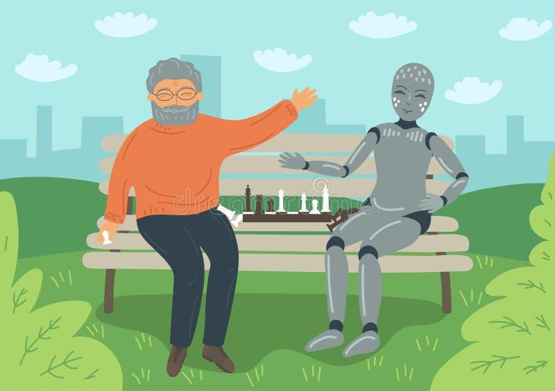 Uomo senior che gioca scacchi con il robot sul banco all'aperto illustrazione di stock