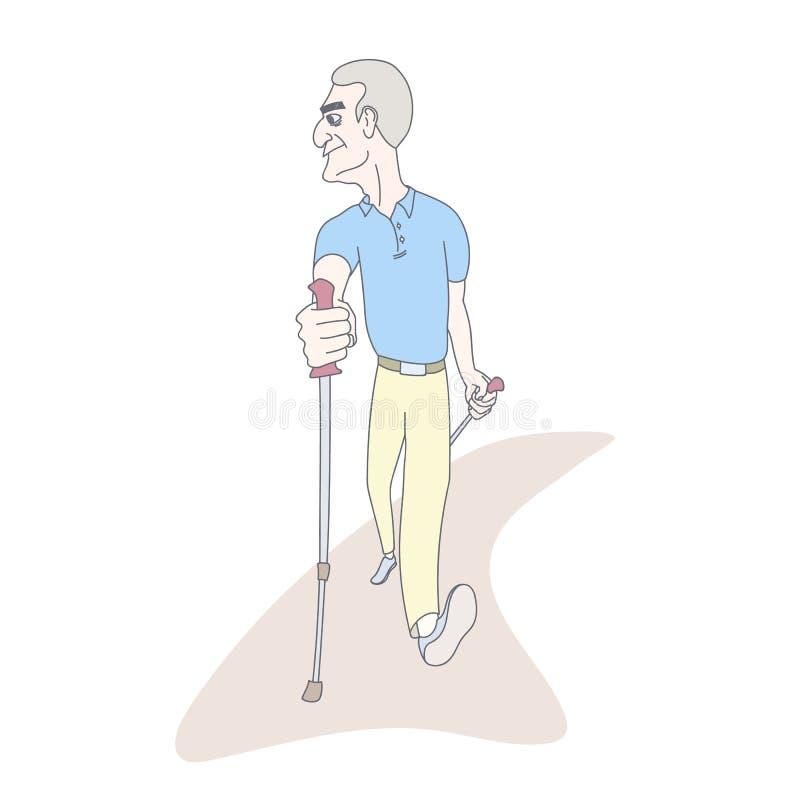 Uomo senior che pratica camminata nordica del palo Illustrazione disegnata a mano di stile royalty illustrazione gratis