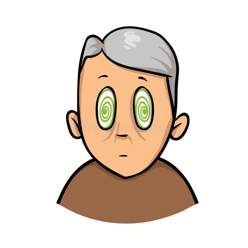 Uomo senior con gli occhi ipnotizzati Filatura, perdente i sensi Icona di progettazione del fumetto Illustrazione piana di vettor illustrazione vettoriale