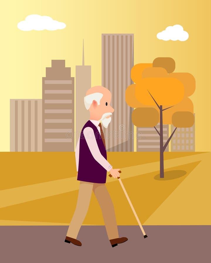 Uomo senior con il bastone da passeggio in manifesto del parco della città royalty illustrazione gratis