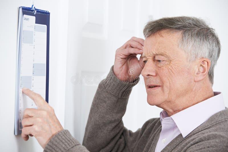 Uomo senior confuso con demenza che esamina il calendario murale immagine stock