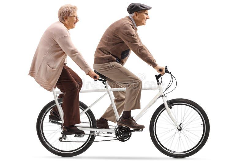 Uomo senior e donna che guidano una bicicletta in tandem immagine stock libera da diritti