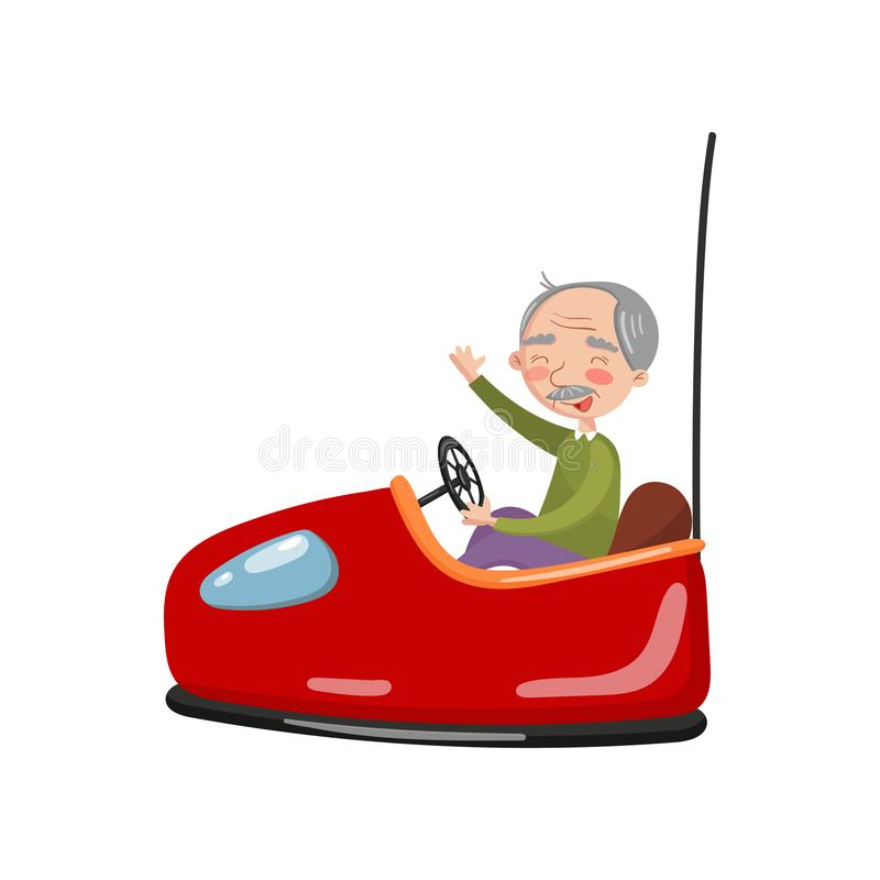 Uomo senior felice che guida l'automobile di paraurti elettrica o l'automobile di dodgem nell'illustrazione di vettore del fumett royalty illustrazione gratis