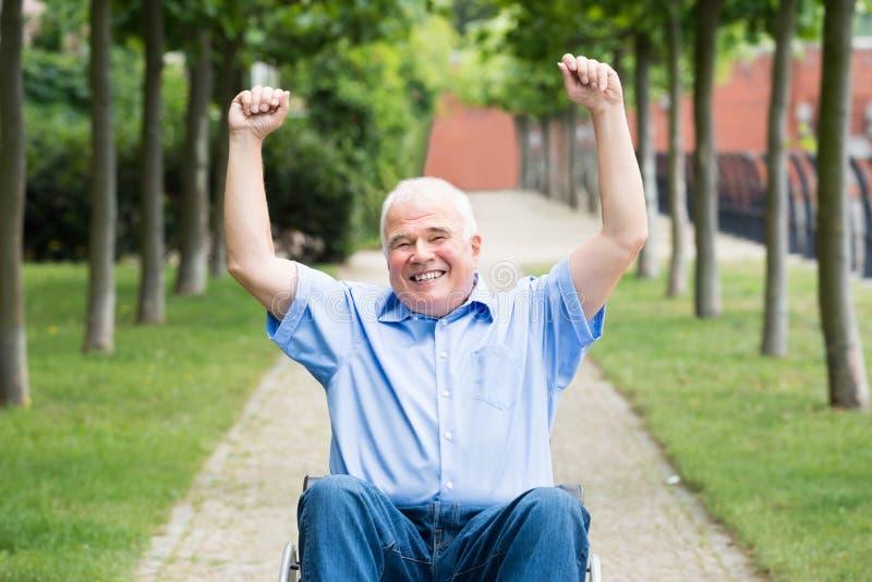 Uomo senior felice sulla sedia a rotelle immagini stock libere da diritti